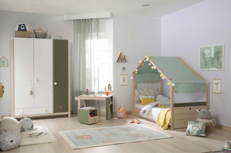 Set Mobila dormitor din pal, pentru copii 4 piese Montessori New Natural / Verde, 180 x 80 cm