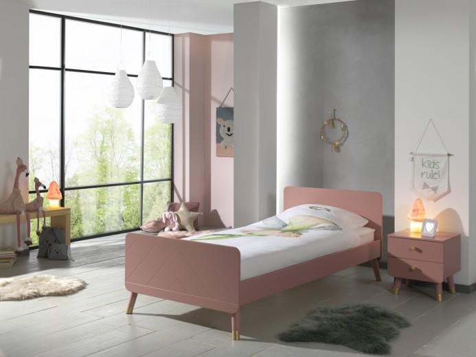Set Mobila dormitor din pal si MDF, pentru copii 2 piese Billy Roz, 200 x 90 cm