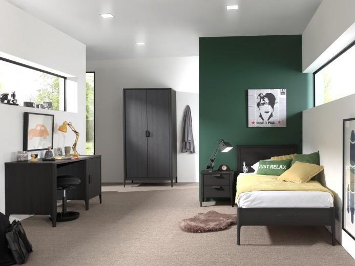Set Mobila dormitor din pal si MDF, pentru copii 4 piese Azalea Antracit, 200 x 90 cm