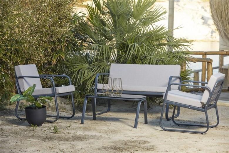 Set mobilier gradina / terasa Ferni Gri deschis / Antracit, 2 fotolii + canapea 2 locuri + masa de cafea