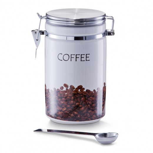 Set recipient si lingurita pentru cafea, din ceramica si inox, Multicolor, 2 piese