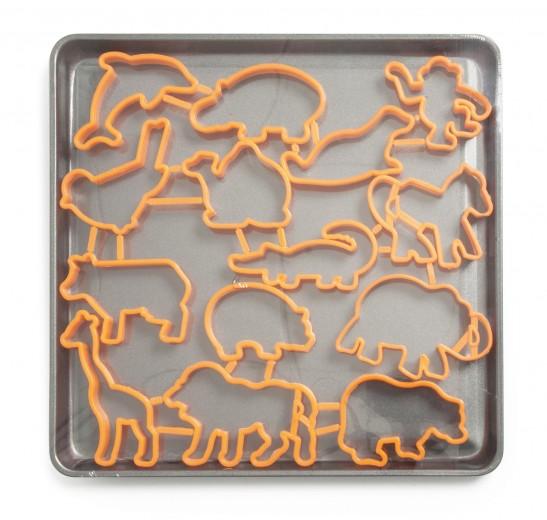 Set tava cuptor cu 14 forme pentru fursecuri, din otel carbon si plastic, L29xl28 cm, Forma Orange