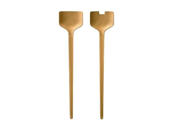 Set ustensile din otel pentru salata Peili Brass 330434, L29,7xl46,5 cm, 2  piese, Zone Denmark