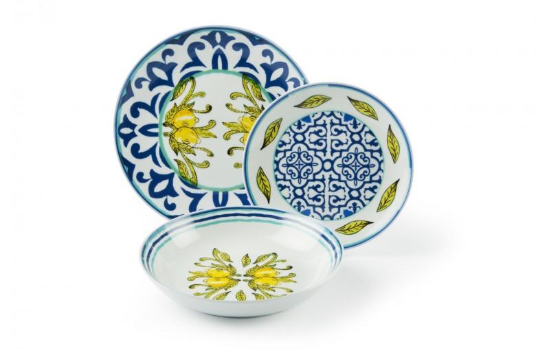 Set vesela din portelan, 18 piese, Amalfi Dinner Multicolor