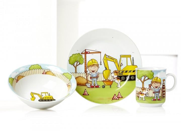 Set vesela pentru copii Construction, Flirt, 3 piese