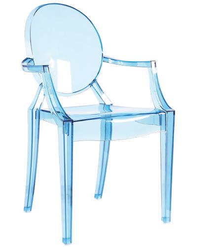 Scaun din plastic transparent Silke Blue, l47xA50xH90 cm