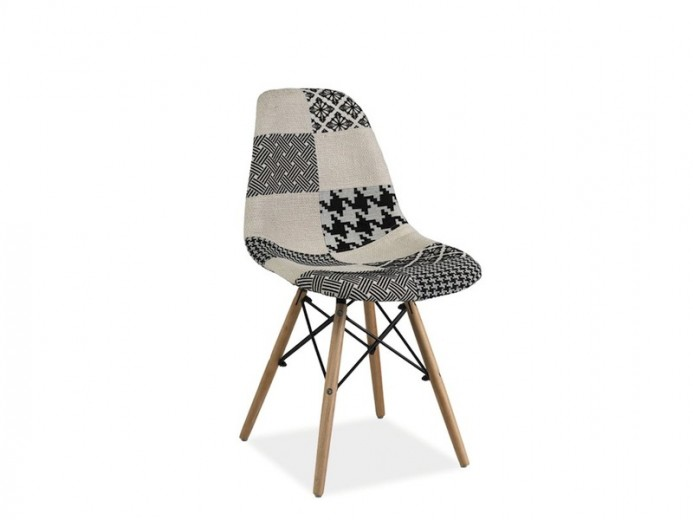 Scaun tapitat cu stofa, cu picioare din lemn Simon B Multicolour / Beech, l46xA39xH82 cm