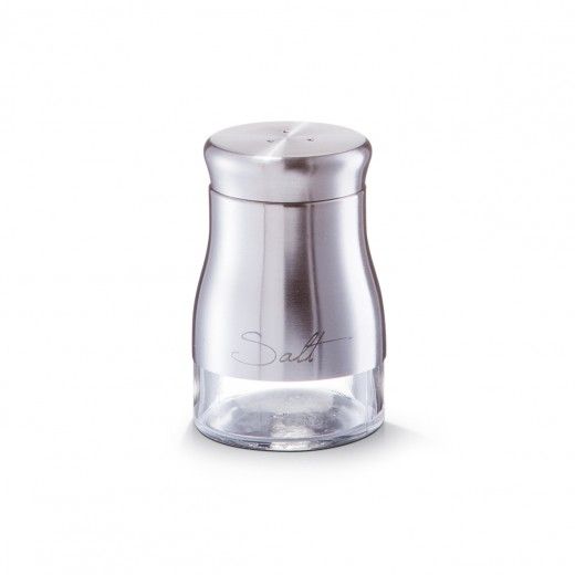 Solnita din sticla si inox Salt, Silver 150 ml, Ø 6xH9,5 cm