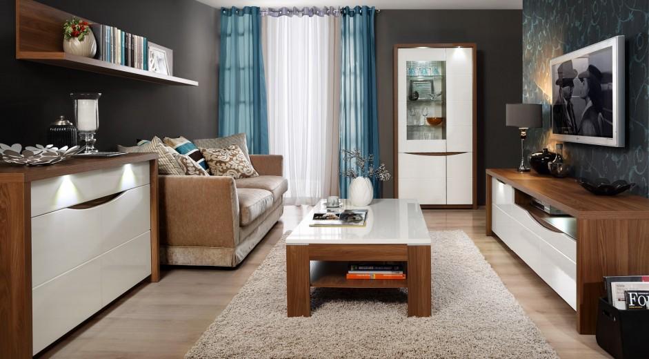 Set de mobila living din MDF, 5 piese Sotez Oak / White