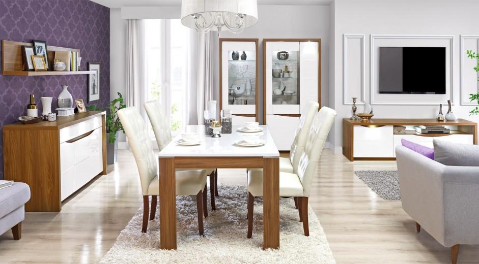 Set de mobila dining din MDF, 6 piese Sotez Oak / White