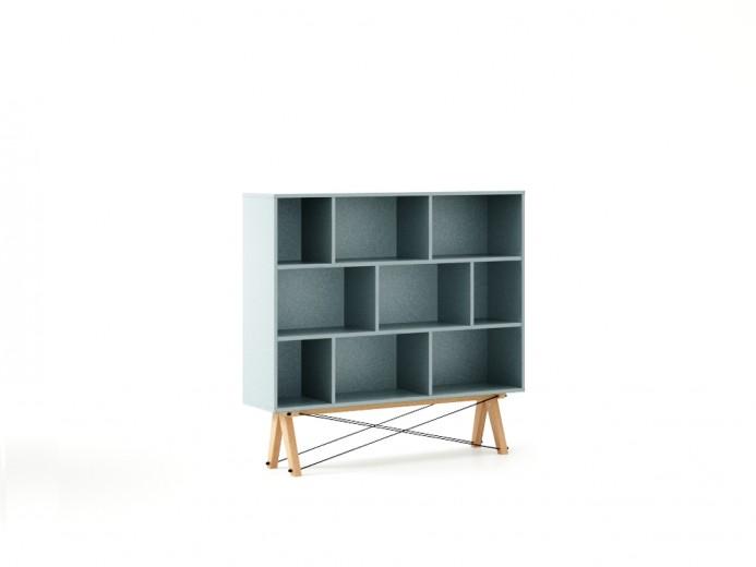 Biblioteca din lemn si pal Low Ice Blue / Beech, l140xA35xH130 cm