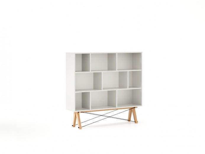 Biblioteca din lemn si pal Low White / Beech, l140xA35xH130 cm