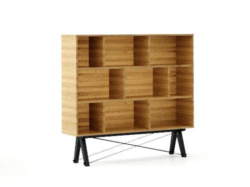 Biblioteca din lemn si pal Low Raw Oak / Black, l140xA35xH130 cm