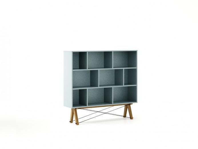 Biblioteca din lemn si pal Low Ice Blue / Oak, l140xA35xH140 cm