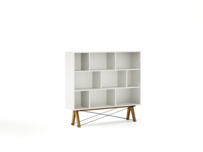 Biblioteca din lemn si pal Low I White, l140xA35xH130 cm