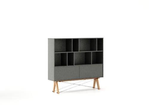 Biblioteca din lemn si pal Low Pocket Grey / Beech, l140xA35xH130 cm