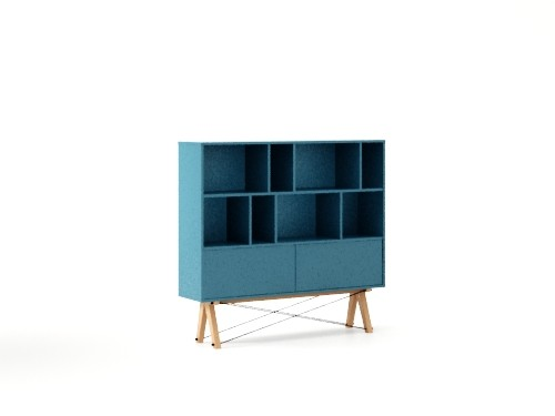 Biblioteca din lemn si pal Low Pocket Oceanic Blue / Beech, l140xA35xH130 cm