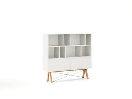 Biblioteca din lemn si pal Low Pocket White / Beech, l140xA35xH130 cm