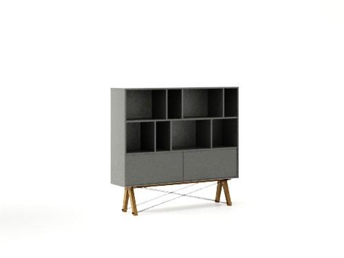 Biblioteca din lemn si pal Low Pocket Grey, l140xA35xH130 cm