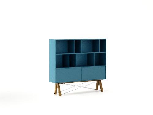 Biblioteca din lemn si pal Low Pocket Oceanic Blue / Oak, l140xA35xA130 cm