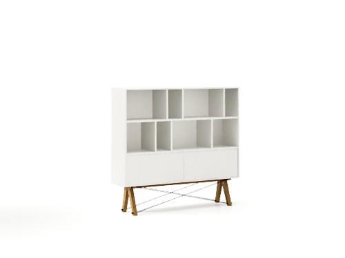 Biblioteca din lemn si pal Low Pocket White / Oak, l140xA35xH130 cm