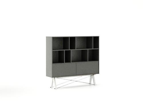 Biblioteca din lemn si pal Low Pocket Grey/ White, l140xA35xH130 cm