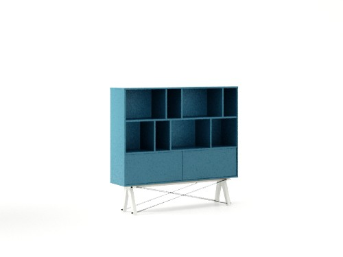 Biblioteca din lemn si pal Low Pocket Oceanic Blue / White, l140xA35xH130 cm