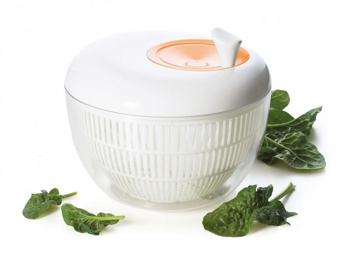 Strecuratoare cu centrifuga pentru salata, din plastic, Ø20,5xH18 cm, Swing Alb