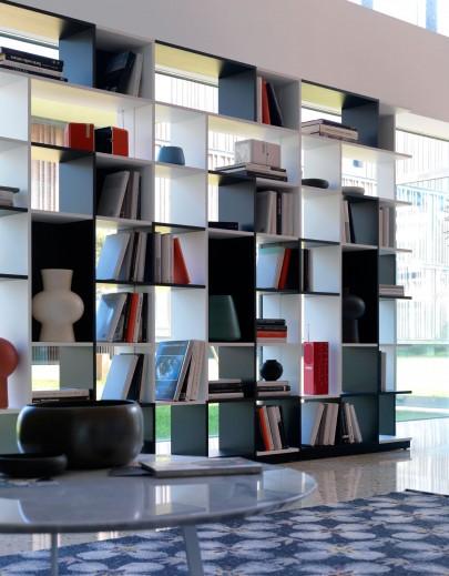 Biblioteca din MDF Sudoku White / Black, l95xA26xH197 cm