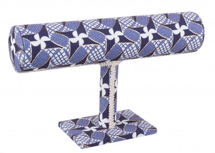 Suport bijuterii din MDF si material textil Cathrine Albastru / Alb, l23xA7xH15 cm
