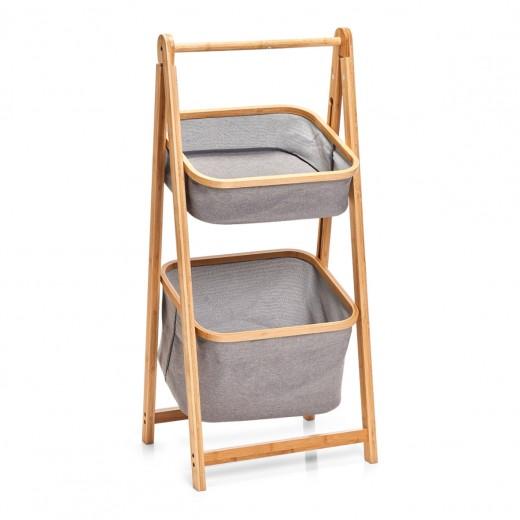 Suport cu 2 cosuri pentru depozitare, Bamboo Gri Poliester, l44xA35xH99 cm