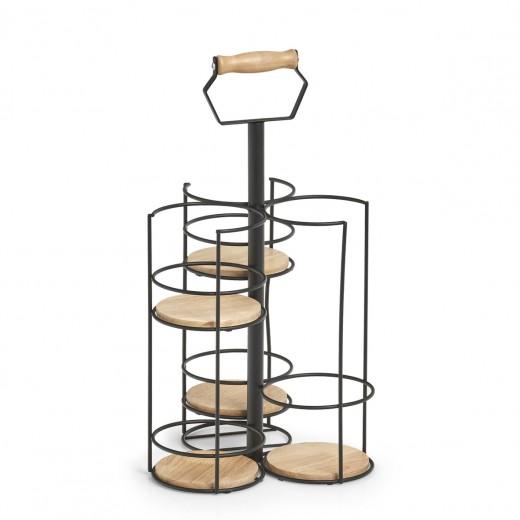 Suport cu maner pentru sticla si 4 pahare, din lemn si metal, Rack Negru, l22,5xA22,5xH42 cm