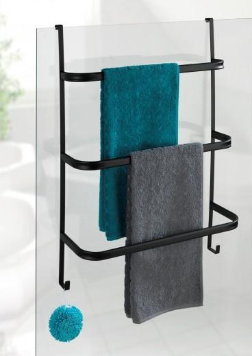 Suport de usa pentru prosoape de baie, din metal, Irpinia Negru, l54,5xA21,5xH77,5 cm
