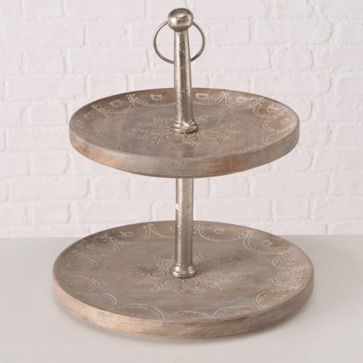 Suport decorativ din lemn de mango si metal, pe 2 nivele Mandala Natural, Ø35xH40 cm
