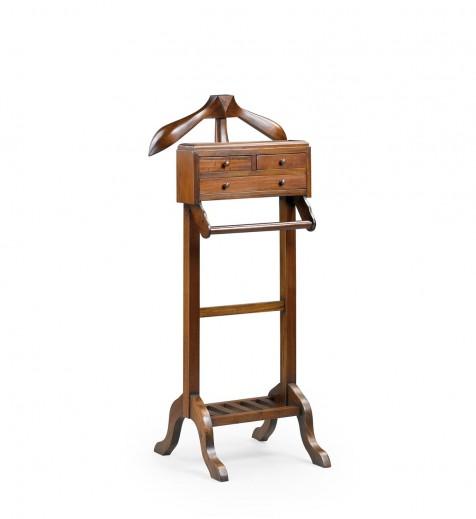 Suport din lemn pentru haine si incaltaminte, cu 3 sertare, Vintage Nuc, l50xA50xH120 cm