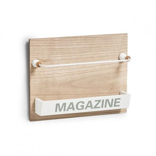 Suport din MDF de perete pentru reviste, Nordic Natural, l32xA7,1xH25 cm