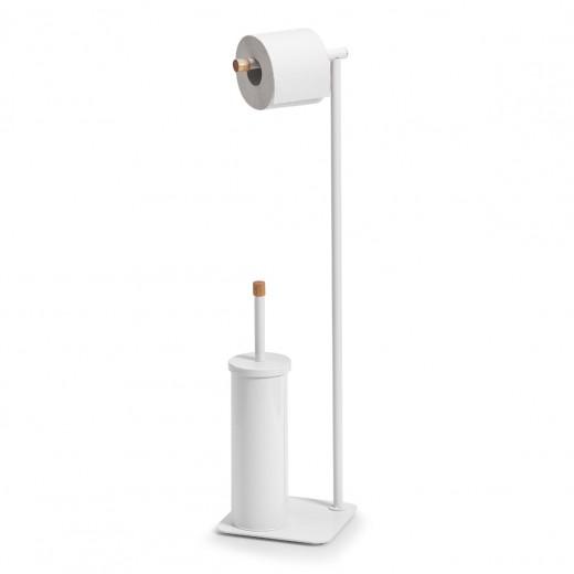 Suport pentru hartie igienica si perie de toaleta, Rubber Metal White, l19xA19xH75 cm