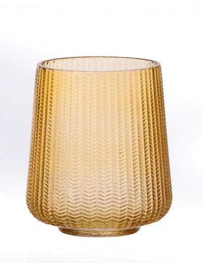 Suport lumanare Boa Huricane Amber, Sticla, Ø14xH17 cm