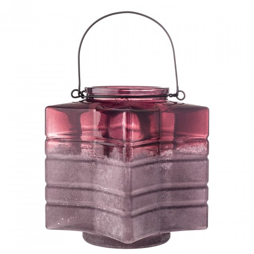 Suport lumanare din sticla Red, Ø18xH18 cm