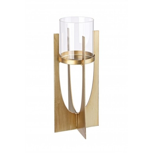 Suport lumanare din sticla si metal Adhira Transparent / Auriu, Ø8xH30 cm