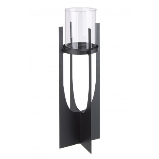 Suport lumanare din sticla si metal Adhira Transparent / Negru, Ø8,5xH37 cm