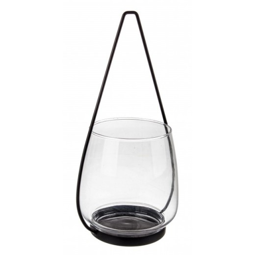 Suport lumanare din sticla si metal Metric Transparent / Negru, Ø18,5xH34,5 cm