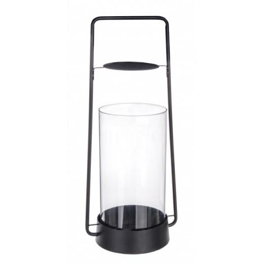 Suport lumanare din sticla si metal Zaira Negru, l21xA17xH49,5 cm