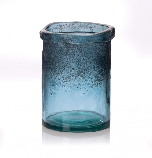 Suport lumanare Rustic Blue, Ø14xH20 cm