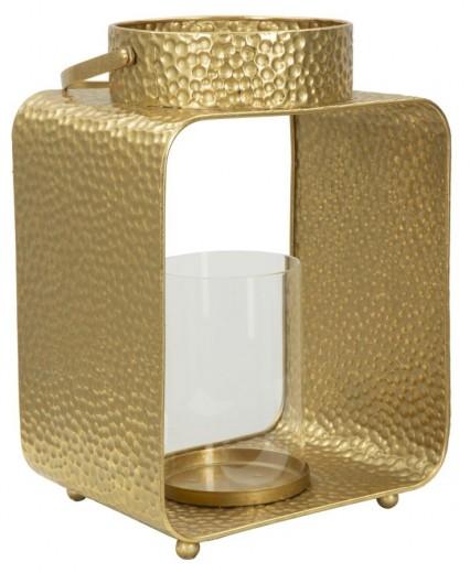 Suport metalic pentru lumanare Bottle Gold, l23xA17,5xH31 cm