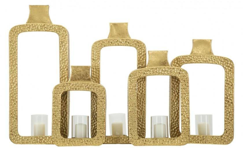 Suport metalic pentru lumanare Bottles Gold, l79xA16,5xH50 cm