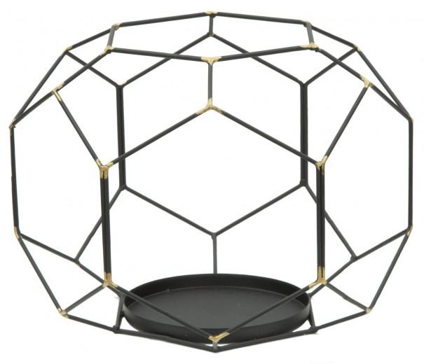 Suport metalic pentru lumanare Bright Ball Black, Ø24xH20 cm