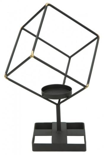 Suport metalic pentru lumanare Bright Square Black, l17xA10xH27 cm