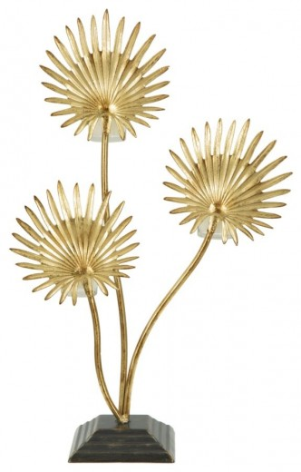 Suport metalic pentru lumanare Flower Gold, l35,6xA12,5xH55 cm