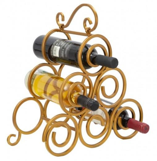Suport metalic pentru sticle Glam Ring 6 Auriu, l36xA17,5xH33,5 cm